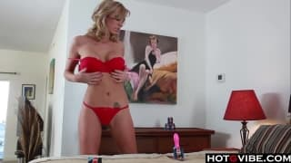 Sexy blonde has a new toy to enjoy on cam