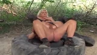 This sexy blonde fucks his ass hard