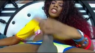 Hot black tranny wanks off on cam