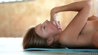 Hot brunette masturbates after yoga