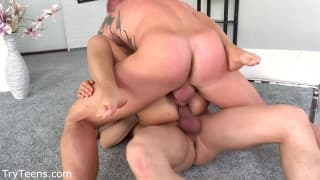 Blonde bitch gets a hard double penetration