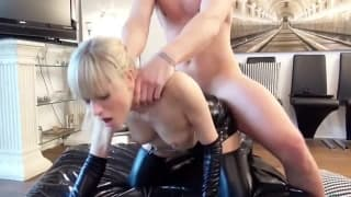 Hot blonde is pounded from behind in her PVC