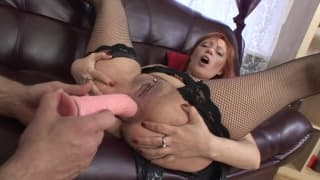 A horny ginger slut gets ass fucked