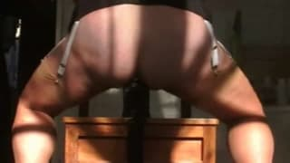 Fucking a big dildo at home on the chair