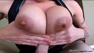 Velicity Von uses her huge tits on him