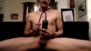 This mature guy uses a new toy