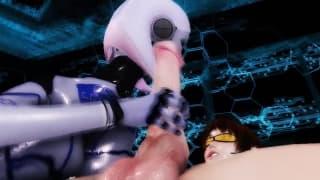 Hentai - This female creature sucks his cock