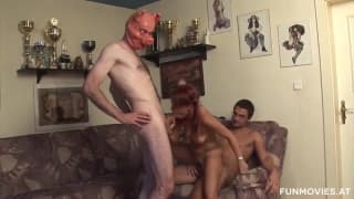 The boyfriend and father-in-law get fucked