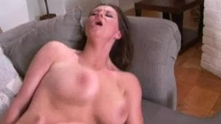 Horny brunette with big natural tits banged