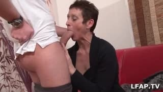 Mature woman loves to blow his pocket rocket