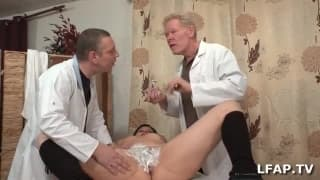 Two doctors cream up patients pussy today