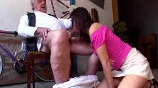 Hot brunette fucks an old guy
