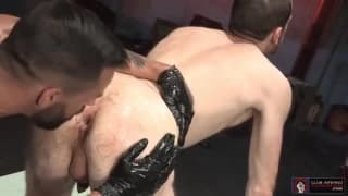 Fuckin cock whore taking a fist in his ass