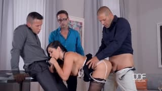 Lea Lexis loves to be banged by three guys
