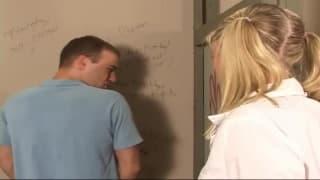 Blondie interrupts him pissing and fucks him