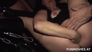 He puts his fingers and his hand in the ass