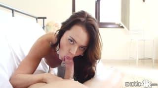 Sensual brunette sucking dick in this clip