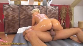 A beautiful blonde masseuse with no clothes