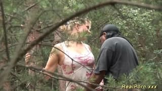 A blonde fucking outdoors with a black guy