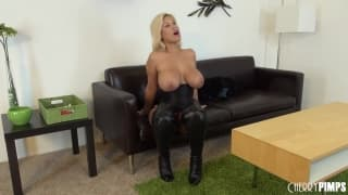 Bridgette B masturbating on the casting couch