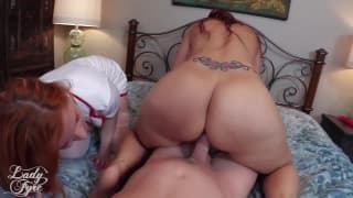 Syren De Mer and Lady Fyre take care of cock