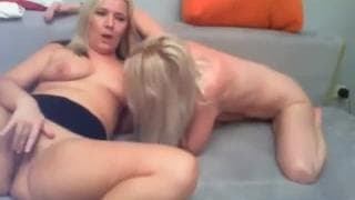 Two horny blondes excite each other on cam