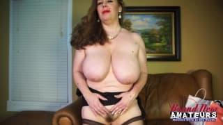 Regina has a H cup size, massive boobs!