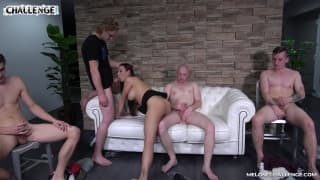 A group of guys try to fuck the same slut