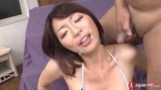 Young, tiny Japonese girl with hairy pussy