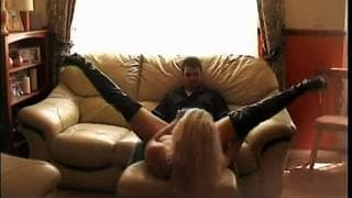Blonde whore gets this guy excited for a fuck