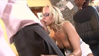 This blonde opens her mouth to suck very well
