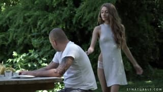 Rebel Lynn naked and fucking in the park