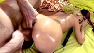 Watch these two play with a big black dildo