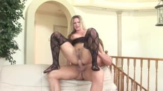 A blonde who gets a deep double penetration