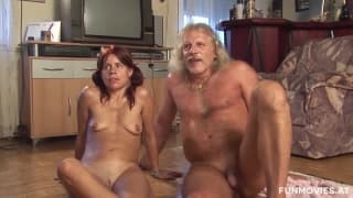 Old guy and muscly girl fuck outdoors