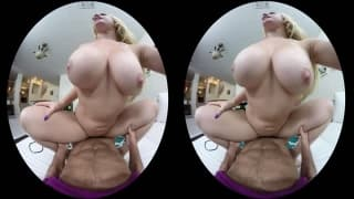 An exciting VR video with a busty blonde