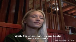 Czech girl gets naked at restaurant