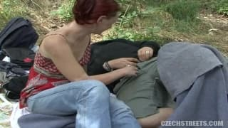 Fucking on the grass with a Czech girl