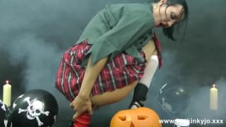 A schoolgirl celebrating halloween with sex