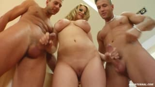 This beautiful blonde likes trios, on Porndig