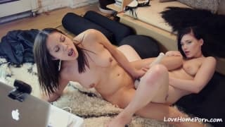 Girl on girl action with sextoys and clits