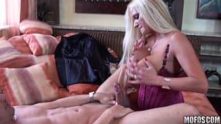 A mature blonde with tasty big breasts