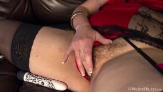 Francesca May fucks her own hairy pussy