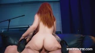 Ella Hughes has cum in her hairy pussy