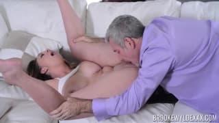 Brooke Wylde fucks a old man on the sofa