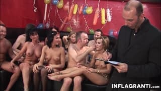 Couple rotating Threesomes in a orgy.