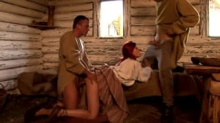 Lovely redhead gets a deep double fuck