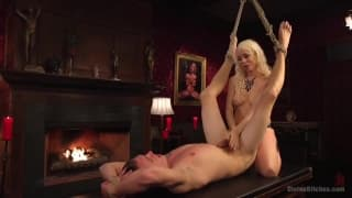 This blonde slut enjoys dominating her man