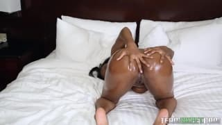 This black woman gets horny and plays