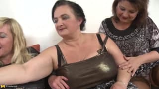 Three old sluts enjoy the same cock